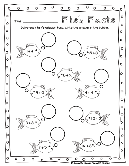 Fun With Firsties: FREE Addition Math Station Worksheet & Noise ...