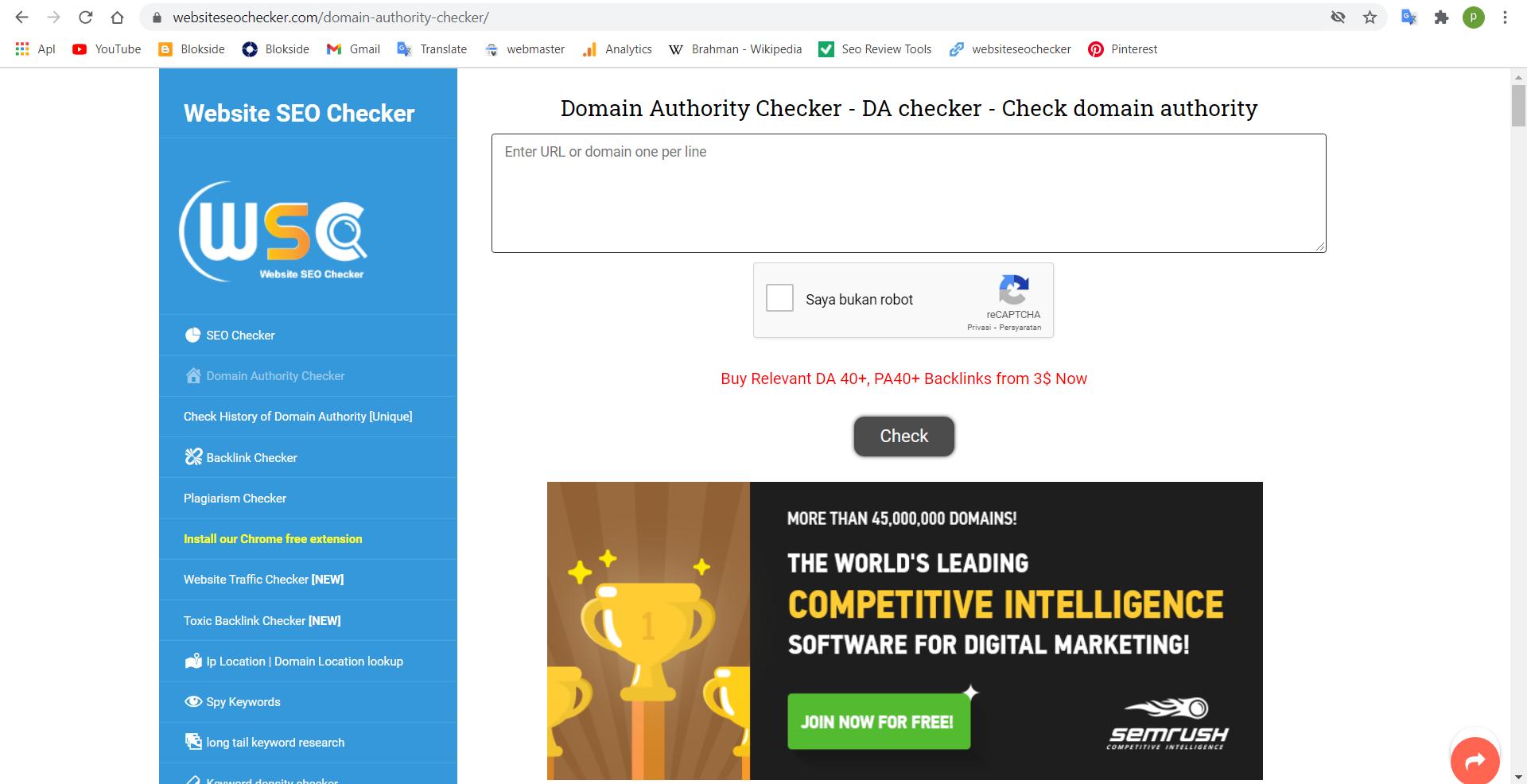 [SEO] list website check domain authority