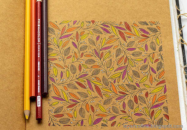 Layers of ink - Colored Pencils on Kraft Tutorial by Anna-Karin Evaldsson. Color with Prismacolor pencils.
