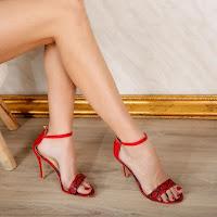 sandale elegante de ocazii rosii cu toc piele de sarpe