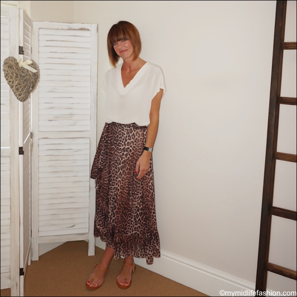 my midlife fashion, Alexis shell top, ganni leopard print mesh frill wrap skirt, carvela concert sandals