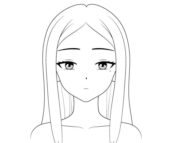 Gambar garis gadis anime cantik