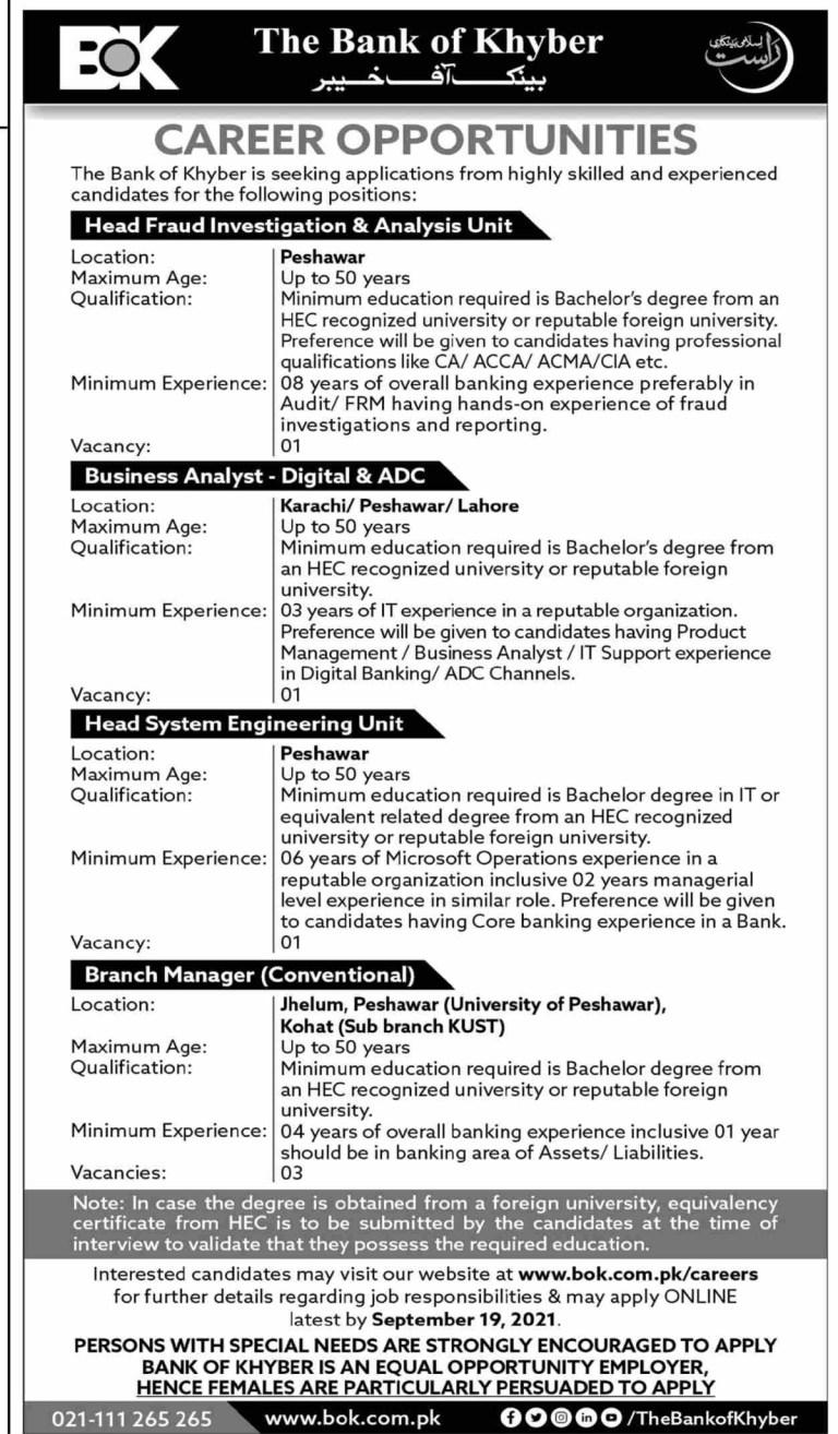 www.bok.com.pk -BOK Bank of Khyber Jobs 2021 in Pakistan