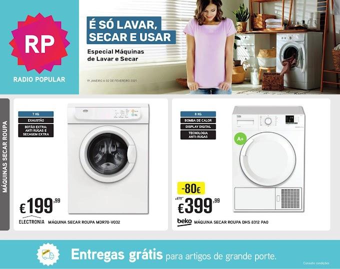 """Folheto Radio Popular - """"É Só Lavar, Secar e Usar"""" - promoção especial Máquinas de Lavar e Secar de 19 janeiro a 2 fevereiro"""