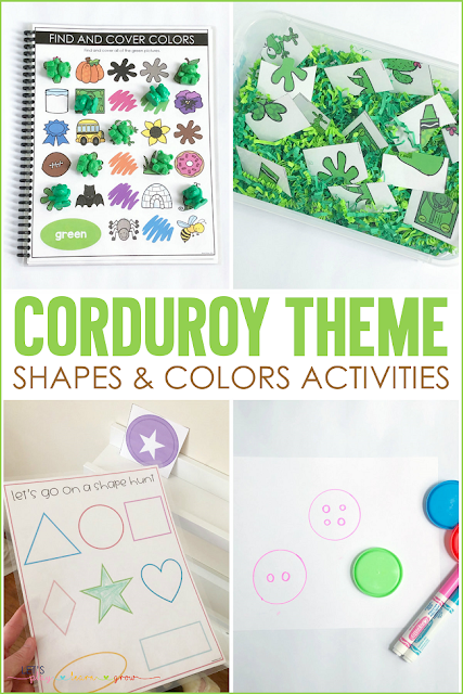 Corduroy Theme Shape and Color Activities for Preschool