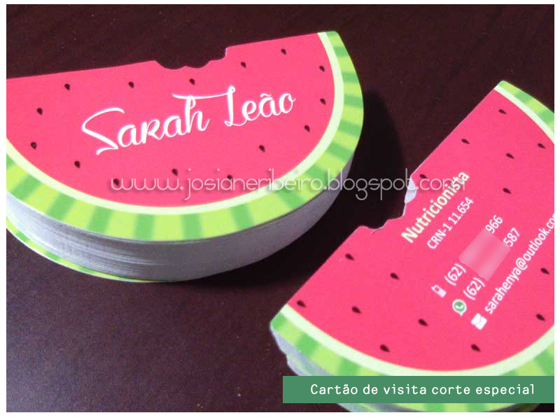Fabuloso Cartão de visita nutricionista Sarah Leão | Josiane Ribeiro GB16
