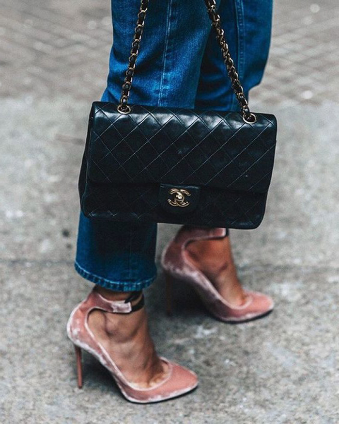 scarpe tacco velluto