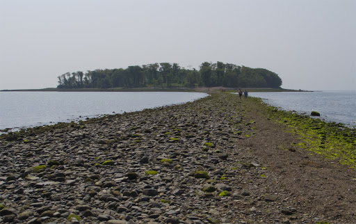 A tombolo connects Silver Sands to Charles Island at low tide