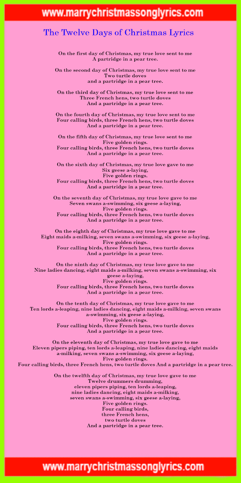 The Twelve Days of Christmas Lyrics Image