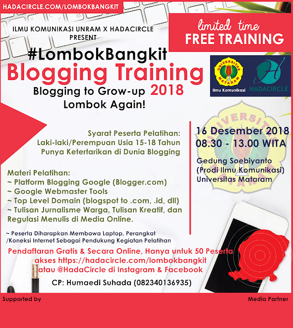 #LombokBangkit Blogging Training 2018