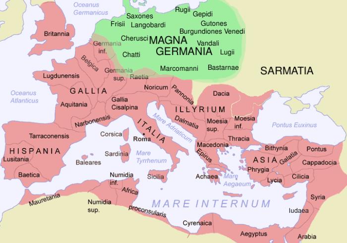 Mapa de Germania y el Imperio romano en el siglo I
