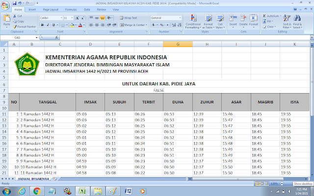 Jadwal Imsakiyah Ramadhan 1442 H Kabupaten Pidie Jaya, Provinsi Aceh