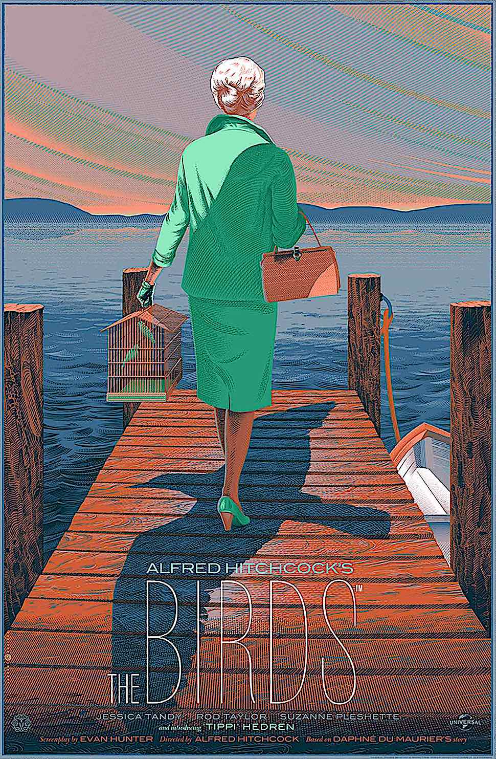 a Laurent Durieux poster for Alfred Hitchcock's The Birds, a woman walking off a dock