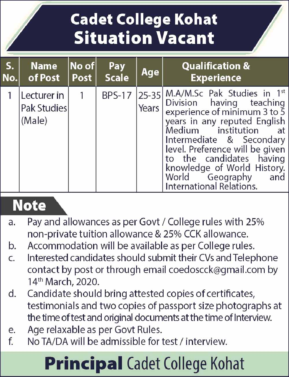 Lecturer - MA / MSc Pak Studies in 1st Division