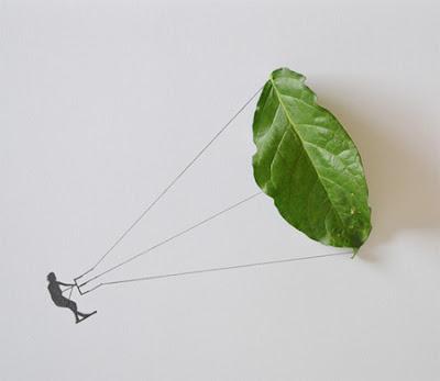 creación con hojas de plantas
