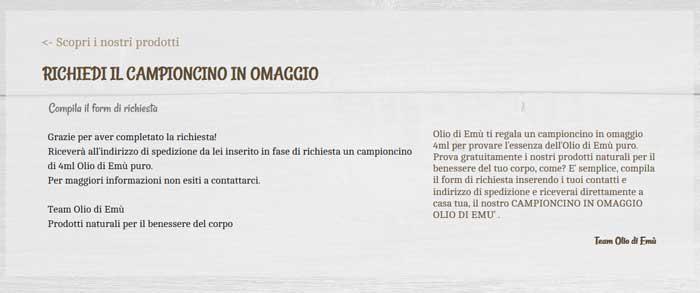 clicca qui per ottenere gratis l'Olio di Emù