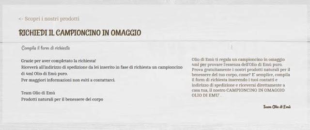 Olio di Emù: campioni gratis