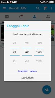 Konfirmasi tanggal lahir di ID BBM baru