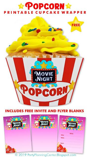 movie cupcakes printable