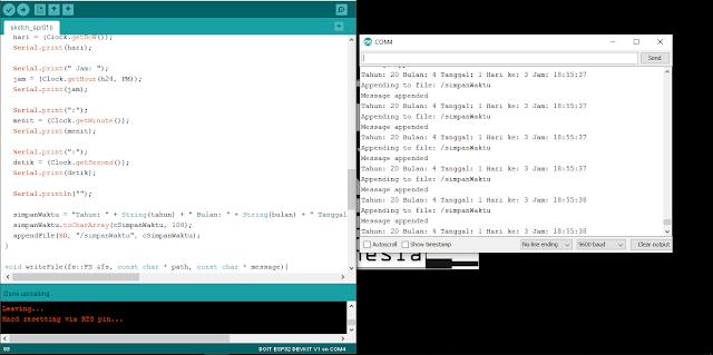 Penyimpanan Data (Data Logging) Waktu dari RTC DS3231 ke SD Card pada ESP32 | Arduino