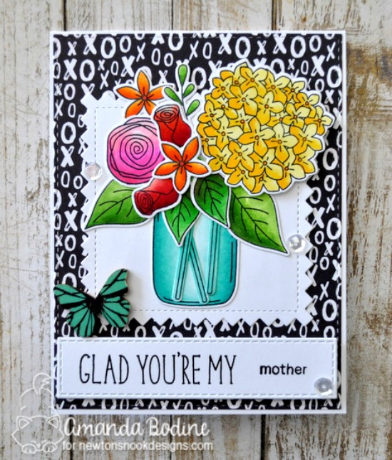Glad you're my mother floral card by Amanda Bodine | Simply Relative & Lovely Blooms Stamp sets by Newton's nook Designs #newtonsnook