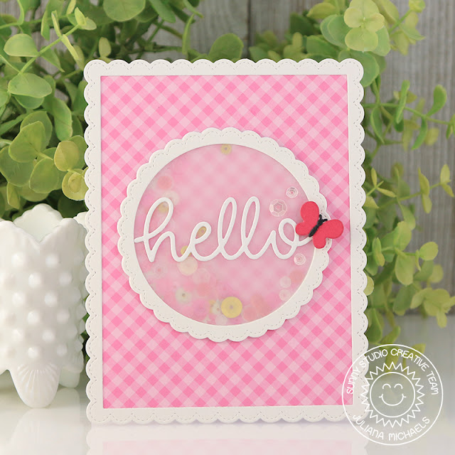 Sunny Studio Stamps: Hello Word Die Fancy Frames Faux Shaker Card by Juliana Michaels