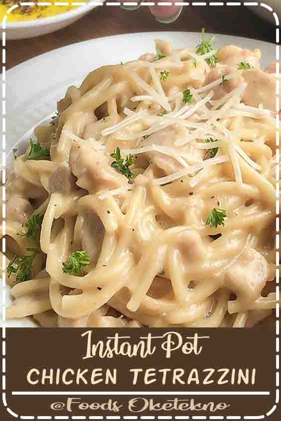 4.6 ★★★★★ | This pressure cooker chicken tetrazzini with tender chicken and plump spaghetti pasta in an incredibly creamy white sauce is so comforting and delicious. This is a pasta dish that the whole family will love.#Instant Pot Chicken Tetrazzini #Dinner #Recipes #For Family #Pasta #Simple