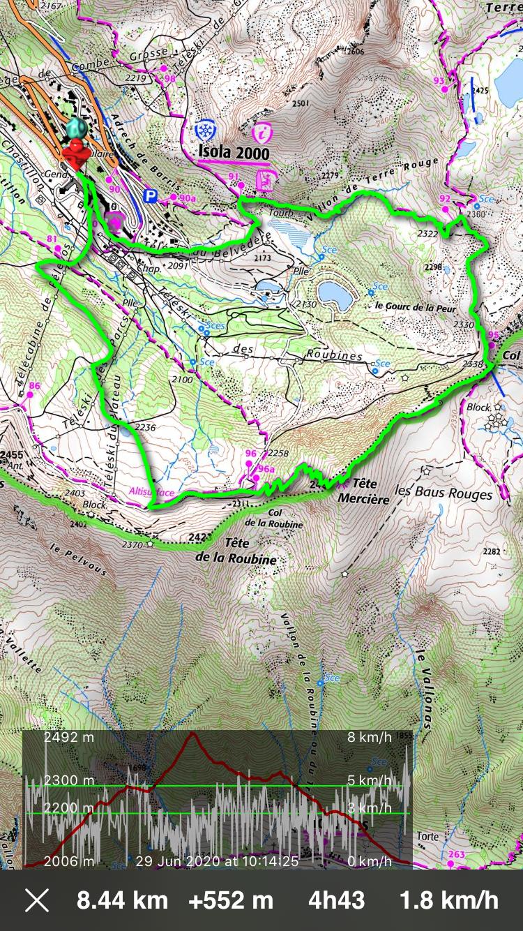Tête Mercière loop hike track