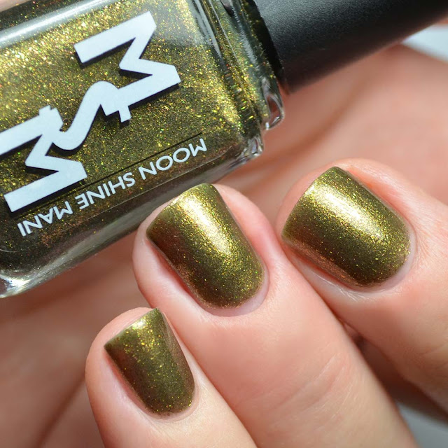 olive microflake nail polish swatch