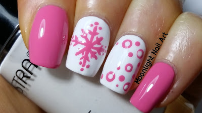 Easy Winter Snowflake Nail Art - Pink and white nail art