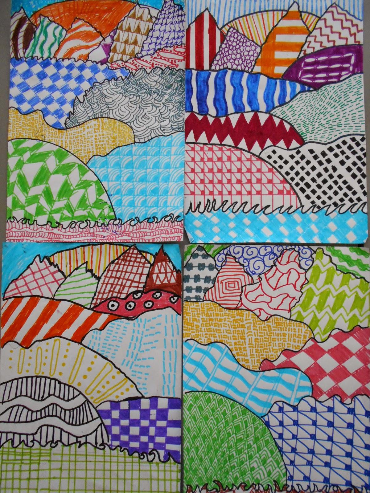Bricks Amp Wood School Art Activities Zentangle Landscapes