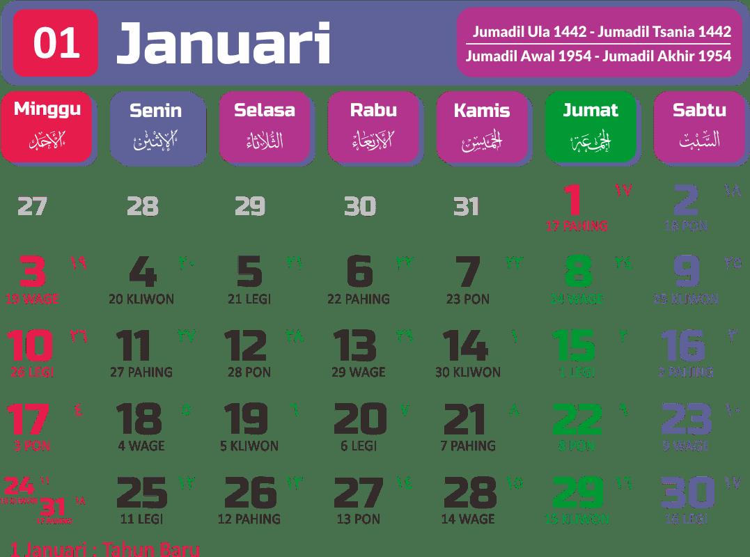 Kalender Tahun 2021 Bulan Januari