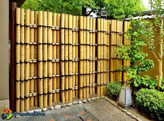 Bamboo fence design and Japanese decoration