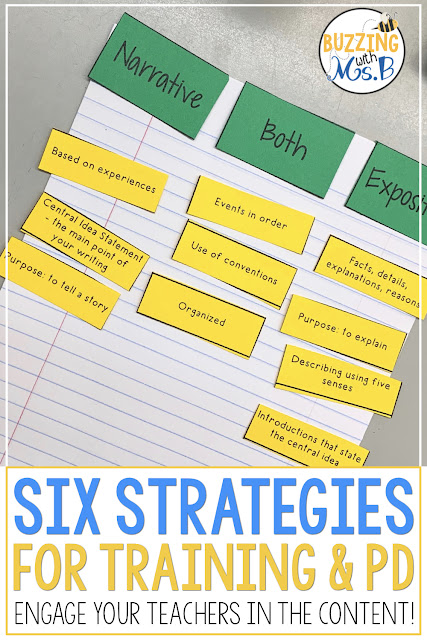 Planning professional development that teachers love and learn from isn't impossible! In this post I share six activities that you can use with teachers during PD. These ideas will help you create a plan for training that you feel good about and teachers love! Your next workshop will be a hit, and it won't take you days to plan, either!