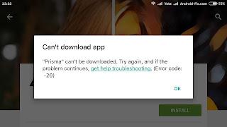 Google Play – Error 20