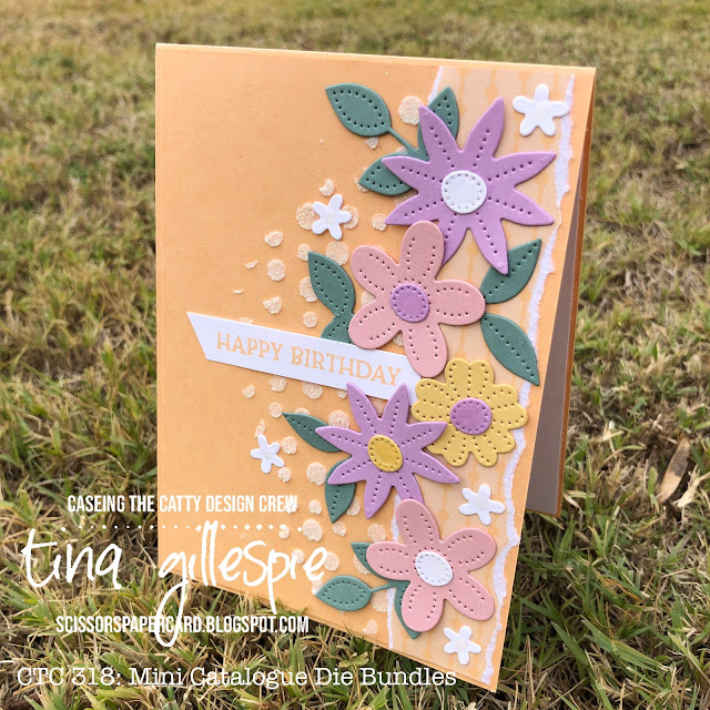 scissorspapercard, Stampin' Up!, CASEing The Catty, Pierced Blooms Dies, Blossoms In Bloom, Shimmery Embossing Paste