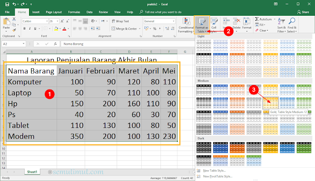 cara membuat tabel di excel otomatis