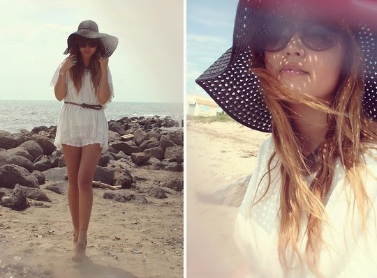 Wearing a White Colored Beachwear for Stylish Look