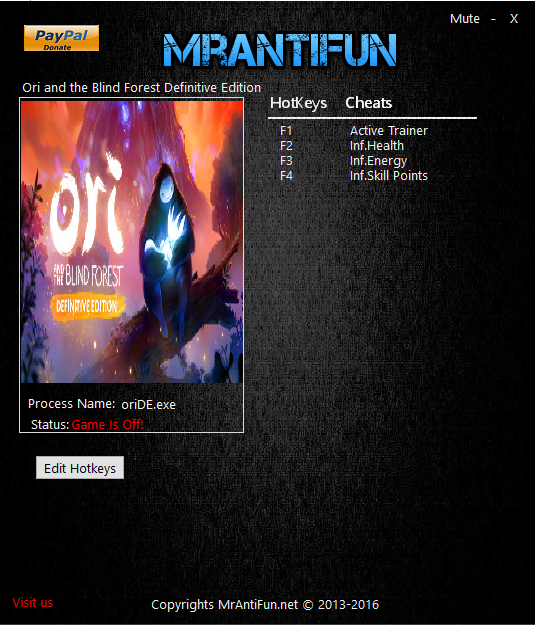 Tampilan Menu Trainer Ori and the Blind Forest Definitive Edition PC