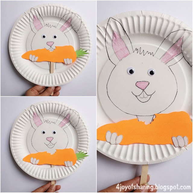 Paper Plate Craft, Easter Craft, Easter Bunny Craft, Chomp Chomp Bunny, Playful Bunny Craft, Wood Stick Crafts, Kids craft, crafts for kids, craft ideas, kids crafts, craft ideas for kids, paper craft, art projects for kids, easy crafts for kids, fun craft for kids, kids arts and crafts, art activities for kids, kids projects, art and crafts ideas, toddler crafts, toddler fun, preschool craft ideas, kindergarten crafts, crafts for young kids, school crafts