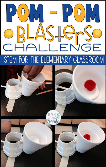 This STEM challenge features the task of creating a blaster for pom-poms using some simple supplies you probably already have. It's an easy-prep activity that students love! #teachersareterrific #STEM #elementary