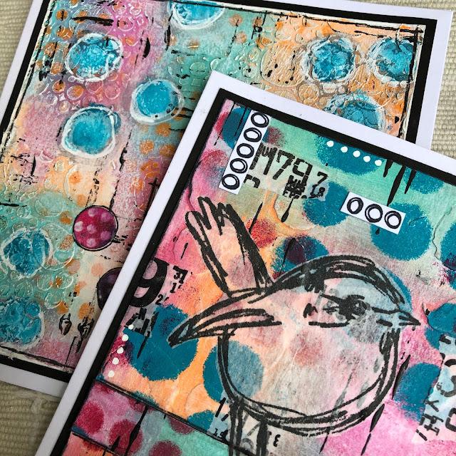 Dina Wakley Scribbly Bird Birthday card