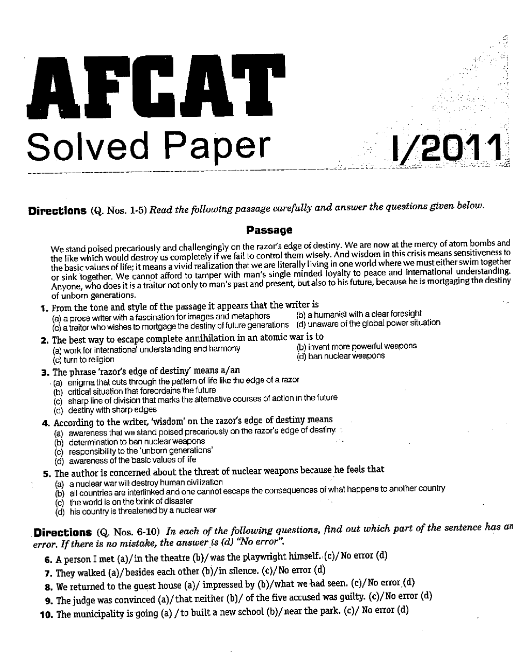 AFCAT previous year question paper in PDF