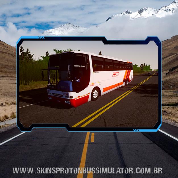 Skin Proton Bus Simulator Road - Busscar Vissta Buss MB O-400RSD 6X2 Viação Pretti