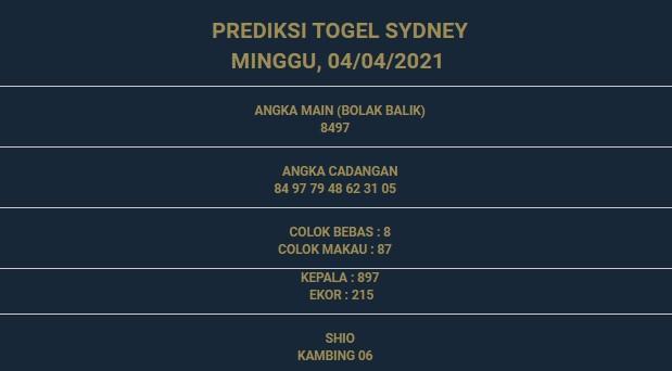 1 - PREDIKSI SIDNEY 04 APRIL 2021