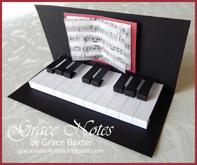 pop-up piano keys, birthday card, by Grace Baxter