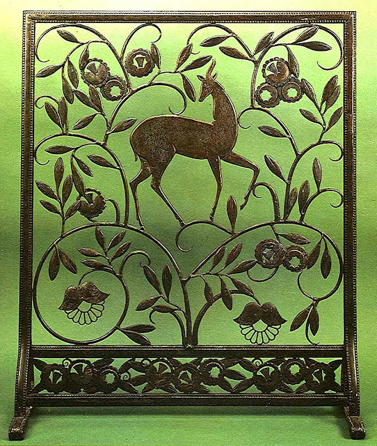 1930s metal fireplace screen