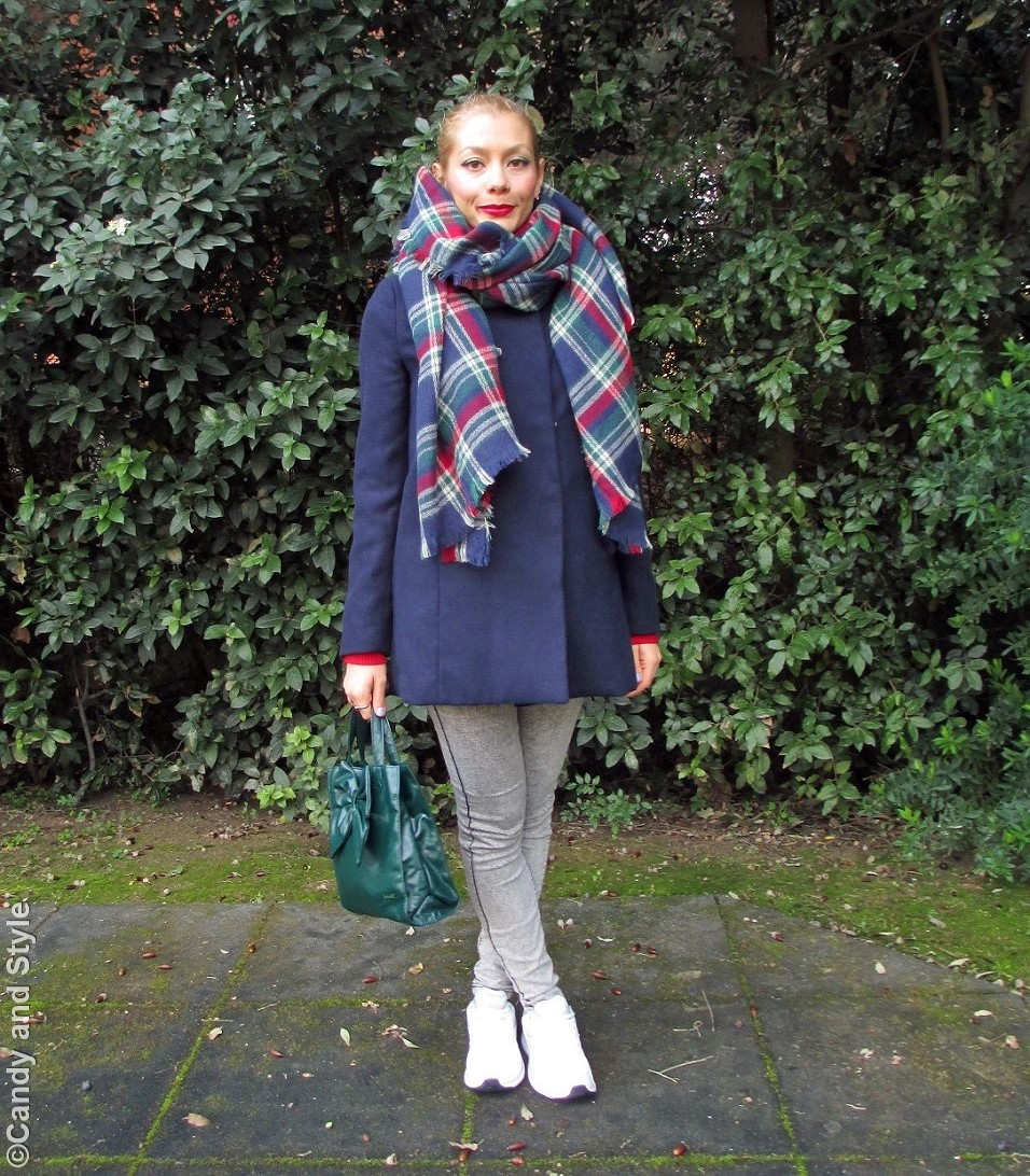 OversizedPlaidScarf+BlueCoat+Jeggings+WhiteTrainers+BowBag+HighPonytail+RedLips - Lilli Candy and Style Fashion Blog
