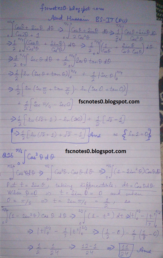 FSc ICS Notes Math Part 2 Chapter 3 Integration Exercise 3.6 question 10 - 17 by Asad Hussain 3