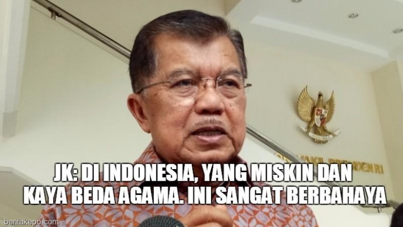 JK sebut kesenjangan ekonomi karena beda agama di Indonesia